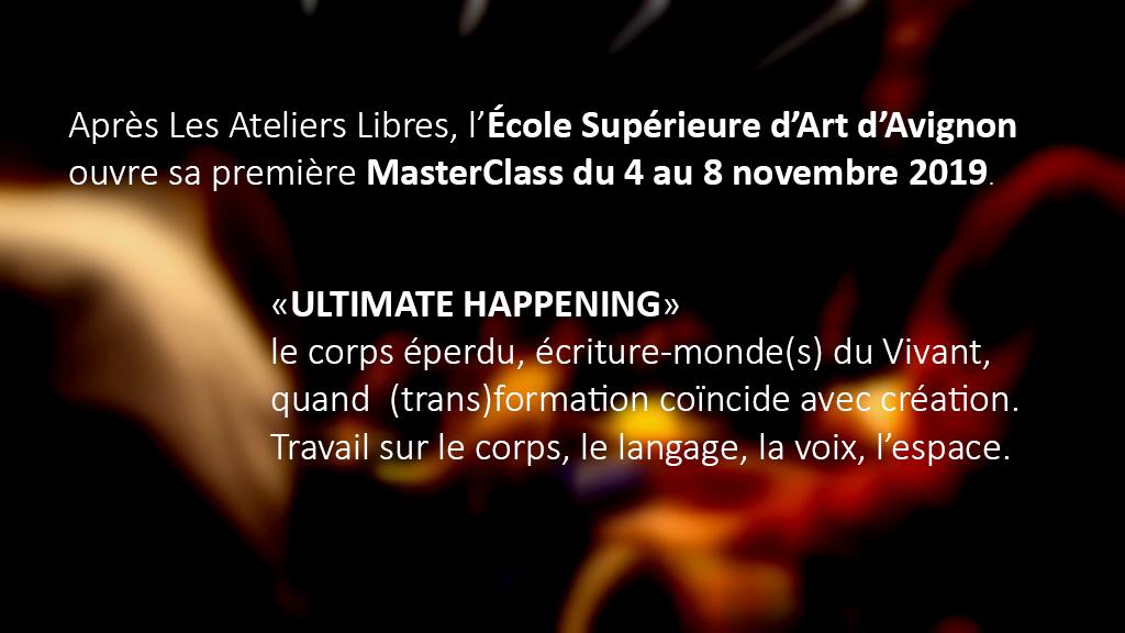 Masterclass du 4 au 8 novembre 2019
